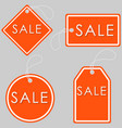 set of bright orange-white sale banners label and vector image