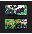 set of gift voucher card template pop art bright vector image