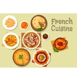 French cuisine dessert cake and pie icon vector image