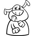 Dog yuck face cartoon coloring page vector image