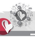 Hand drawn heart icons with icons background vector image