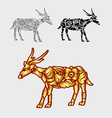 Deer gold floral ornament decoration vector image vector image