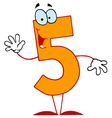 funny cartoon numbers-5 vector image vector image
