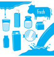 cow milk packaging blue icon cartoon design vector image