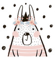 cute cartoon rabbit girl with crown in vector image