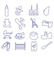 equipment for baby outline icons set ps10 vector image