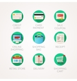 shopping icons set Modern flat colored vector image