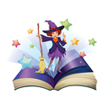 An open book with an image of a witch holding a vector image vector image