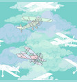 seamless pattern with clouds and airplanes vector image