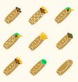 Set of color tortilla food icons set eps10 vector image