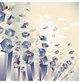 Geometric 3d explosion transparent striped cubes vector image