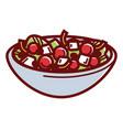 delicious healthy greek salad in deep bowl vector image