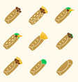 Set of color tortilla food icons set eps10 vector image