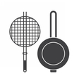 Cooking Brazier and Pan Icons vector image