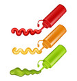 colorful plastic bottles with pressed sauces vector image