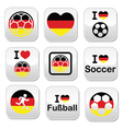 I love German football soccer buttons set vector image