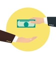 Businessman takes money from another businessman vector image