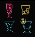 cocktails set neon Cocktail glasses vector image