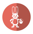 easter bunny with basket egg shadow vector image