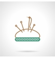 Flat line icon for sewing pin cushion vector image