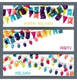 Holiday colorful horizontal banners with flags and vector image
