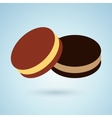 Icon of chocolate cookies with cream filling vector image