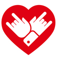Rock in heart icon vector image