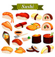 full collection of different variety of sushi roll vector image
