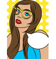 beautiful woman in glasses in pop art comic style vector image