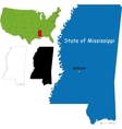 Mississippi map vector image vector image