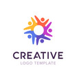 creative connect people logo family logo template vector image