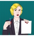 Businesswoman with document and pen vector image