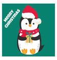 christmas card with holiday penguin vector image