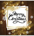Golden shining Christmas background with snow vector image