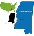 Mississippi map vector image