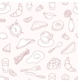 Outline hand drawn breakfast seamless pattern vector image