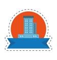 real estate building emblem ribbon cut line vector image