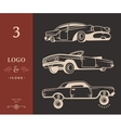 Set Vintage Old Cars vector image