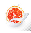 ripe grapefruit in a milk splash on a vector image vector image