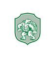 Green Turtle Fighter Mascot Shield Retro vector image