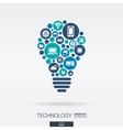 flat icons in idea bulb shape technology cloud vector image
