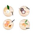Chinese Pear Mangosteens Peach and Sapodilla vector image