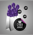 cyber monday offer sale with shopping bag vector image