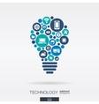 flat icons in idea bulb shape technology cloud vector image
