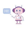 funny smiling robot chat bot say hi vector image