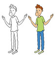 handsome young man with his hands waving affably vector image