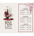 Menu with a bottle of wine vector image