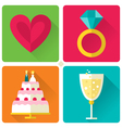 Set of 4 flat style love and wedding theme vector image