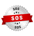 sos 3d silver badge with red ribbon vector image