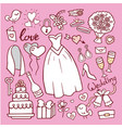 wedding fashion bride dress doodle style vector image